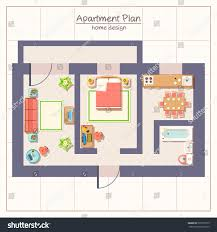 apartment plan architectural apartment plan top view furniture stock vector