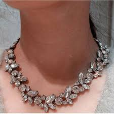 silver pendant choker necklace images Charm crystal silver gold flower pendant statement bib chunky jpg