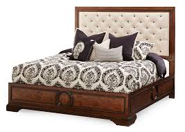 panel bed with fabric tufted headboard