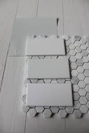 best ideas about bathroom flooring pinterest basement benjamin moore wickham gray with subway tile hex floor are halfway there