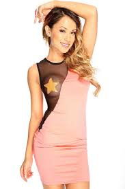 womens clothing party dresses neon coral mesh cut out sequin star
