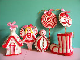 6 vintage paper mache ornaments pink and white