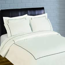 Embroidered Duvet Cover Sets Scallop Embroidery 300 Thread Count Percale Duvet Set Black
