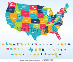 us map by states and cities colorful usa map states capital cities stock vector 258152768