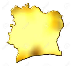 Ivory Coast Map Ivory Coast 3d Golden Map Isolated In White Stock Photo Picture