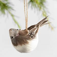 gray and brown feathered bird ornaments set of 3 world market