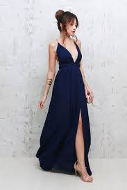 plunge dress backorder vera plunge gown navy blue kin