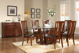 Round Dining Table With Glass Top Oak Dining Table Chairs With Fabric Room High Back Upholstered
