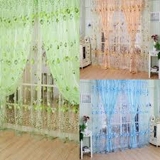 Blue Green Sheer Curtains Ls4g 1m 2m Tulle Curtains Chic Room Tulip Flower Sheer Curtain