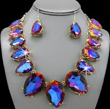 topaz crystal necklace images Pear cut mystic topaz crystal tennis necklace dangle earring jpeg