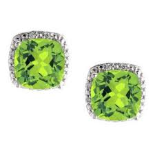 peridot earrings peridot earrings 14k white gold princess cut studs gemologica