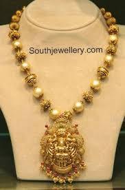 south sea pearls mala with lakshmi pendant bhagya