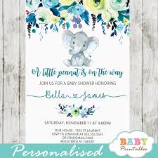 baby boy baby shower invitations elephant baby shower invitations boy floral teal blue d432