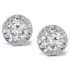 diamond ear studs pave diamond earrings ebay