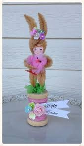 chenille easter easter bunny vintage style bump chenille figure by artzeeshell on