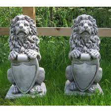 lion garden statue pair lion with shield statues onefold uk