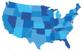 Images Of The Map Of The United States by State Map Of The United States Of America In Blue Tones Royalty