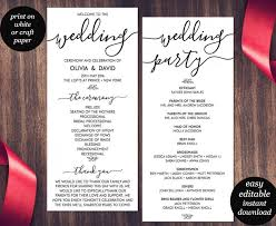 wedding program templates wedding program template printable wedding program wedding