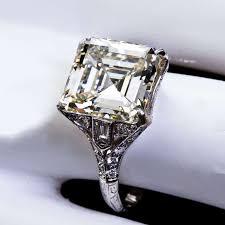 modern wedding rings newlyweds emerald cut diamond engagement