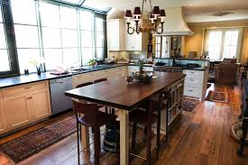 contemporary varnished oak wood kitchen island with caster wheels