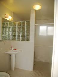 excellent glass block added white porcelain pedestal sink as