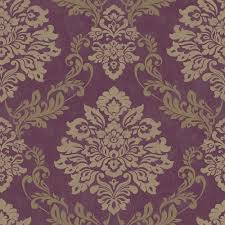 Purple Damask Wallpaper by Arthouse Vintage Palazzo Damask Wallpaper Mulberry 290401