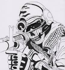 black ops ghost mask from call of duty ghost coloring coloring pages