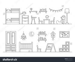 set elements baby room interior outline stock vector 418451554