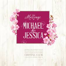 wedding backdrop design vector wedding invitation on wooden backdrop flowers cherry