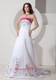 pink embroidered wedding dress pink and white wedding dress dresses