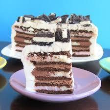 vegan ice cream sandwich cake with vanilla and chocolate whipped cream