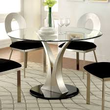 Furniture Of America Sculpture III Contemporary Glass Top Round - Modern glass dining room furniture