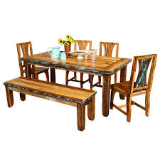Southwest Dining Room Furniture Southwestern Style Azul Barnwood Table U0026 Chairs With Bench Package