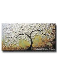 Cherry Blossom Home Decor Original Art Abstract Painting White Flowering Cherry Tree