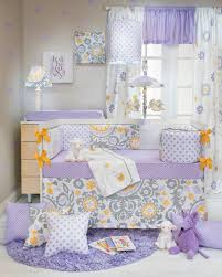 fiona 4 piece gray white u0026 lavender suzani crib bedding