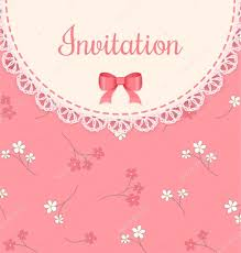 pink invitation card vector lace frame with bow on pink floral background vintage