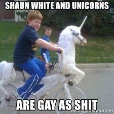 Shaun White Meme - shaun white and unicorns are gay as shit unicorn meme generator