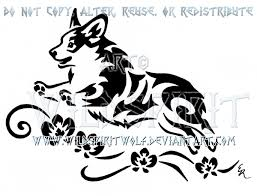 frolicking corgi and orchids tribal design by wildspiritwolf on