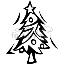 royalty free black and white decorated christmas tree with a star