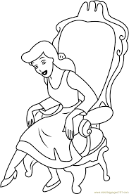 cinderella sitting on chair printable coloring page for kids and