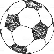 football icon sketch soccer ball handdrawn in doodles style stock
