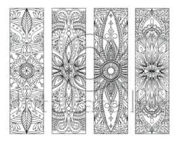 4 mandala colouring bookmarks 2 instant download