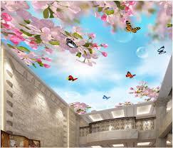 custom photo 3d ceiling murals wallpaper dream peach blossom