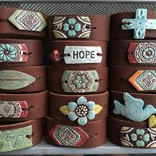 leather jewelry cuff bracelet images Handmade ceramic and leather cuff bracelets for missions and jpg