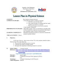 sample lesson plan chemical reactions concept