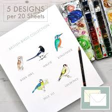 writing paper set themed stationery writing paper honeytree a5 british birds collection illustrated writing paper set