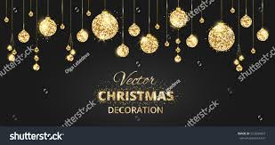 christmas banner glitter decoration black gold stock vector