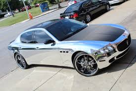 chrome wrapped cars maserati quattroporte with full chrome wrap no limit inc