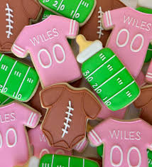 football themed baby shower baby girl football themed baby shower cookies s custom