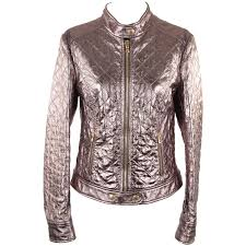 moto biker jacket dolce and gabbana metallic silver leather quilted moto biker